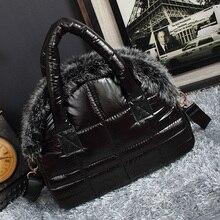 2019 New Luxury Handbags Women Designer Rabbit Fur Bags New winter Down Bag Soft Space Cotton Shell Bags Women Shoulder Bag