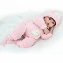 Hot Sale Big Size Baby 20 inches Doll Reborn Soft Vinyl Kawaii Babies For Girls Pink Romper Newborn Juguetes