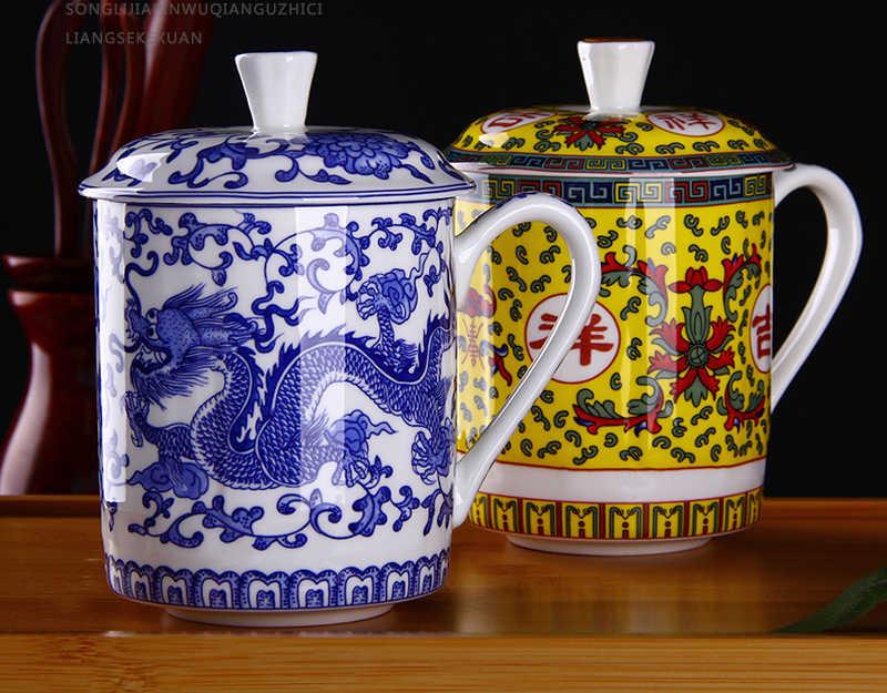 500 ML, chinoiserie xương trung quốc rồng cup cho trà đạo, không khí bức tranh rồng, xương-trung quốc-trà-mug trung quốc phong cách truyền thống geek