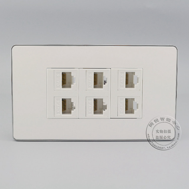 Outlet Faceplate Pleasing 120Mm Wall Socket Plate 6 Ports Lan Network Cat6 Rj45 Faceplate Review