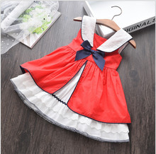 Summer Baby Girl Sleeveless Red Vintage Spanish Dress Red Palace Style Dress for Girls Party Dress Princess Dress 100% Cotton