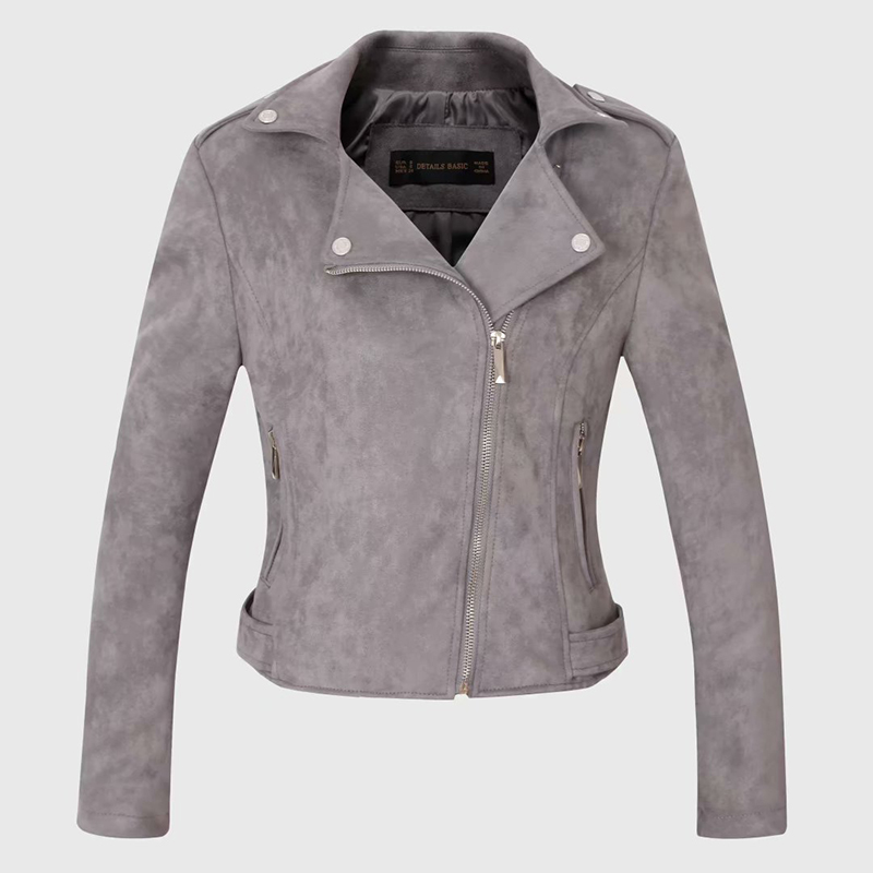 autumn women faux   suede     leather   biker jackets 2019 female long sleeve zipper   suede   coat streetwear gray outfit