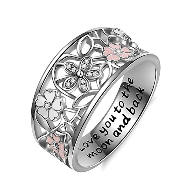Модное Сверкающее циркониевое серебряное кольцо для женщин, цветочное сердце, корона, кольца на палец, фирменное кольцо, ювелирное изделие, Прямая поставка - Цвет основного камня: 35