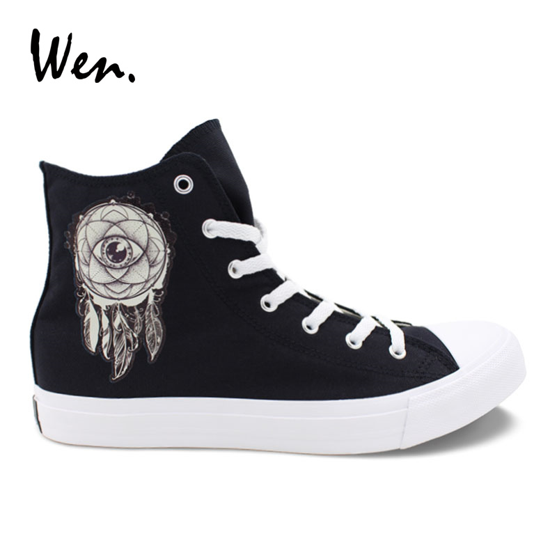 Wen Dreamcatcher Design Canvas Shoes Men Black Casual Laced Flat High to Help Vulcanized Shoes Women Sneakers Original Plimsolls