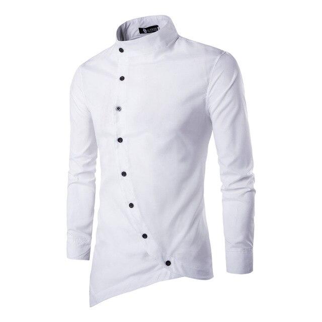 2017 Oblique Button New Spring Fashion Men Clothes Slim Fit Men Long Sleeve dress Shirt Casual Men Shirt Social Plus Size M-2XL