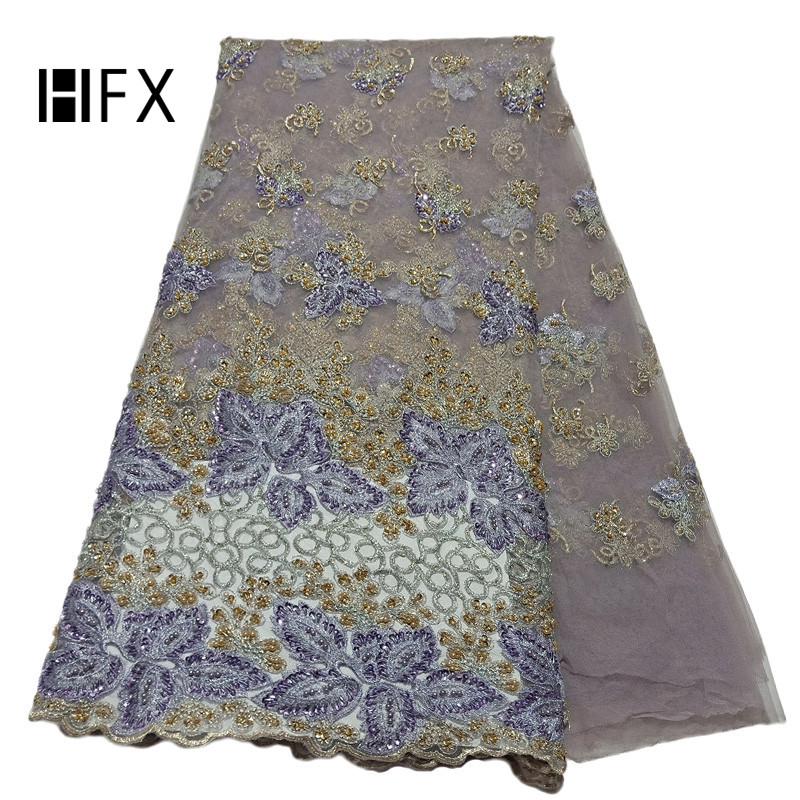 Heavy French Dress Tulle Lace Latest Green/Gold African Sequin Embroidered Net Lace Luxury Handmade Beaded Lace Fabric X1711