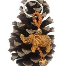 1 шт. брелок для ключей Lucky men women's Elephant резьба деревянная Подарочная подвеска-брелок