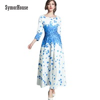 2018 Spring Fashion Blue Petal Print Slim A Line Women Dress 3 4 Sleeve Empire Large