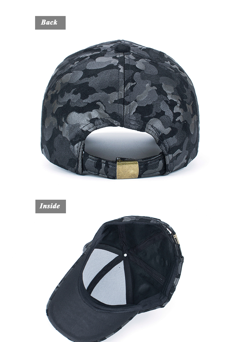 Faux Leather Camo Baseball Cap - Back and Inside Views
