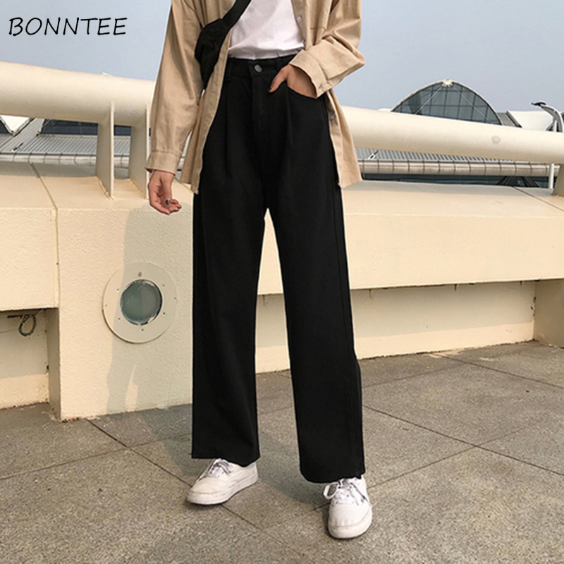 Jeans Women Solid Trendy All-match High Quality Female Korean Style Wide Leg Trousers Womens Loose Students Solid Pockets Chic
