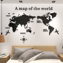 Large size living room acrylic wall stickers removable waterproof home decoration world map 3d