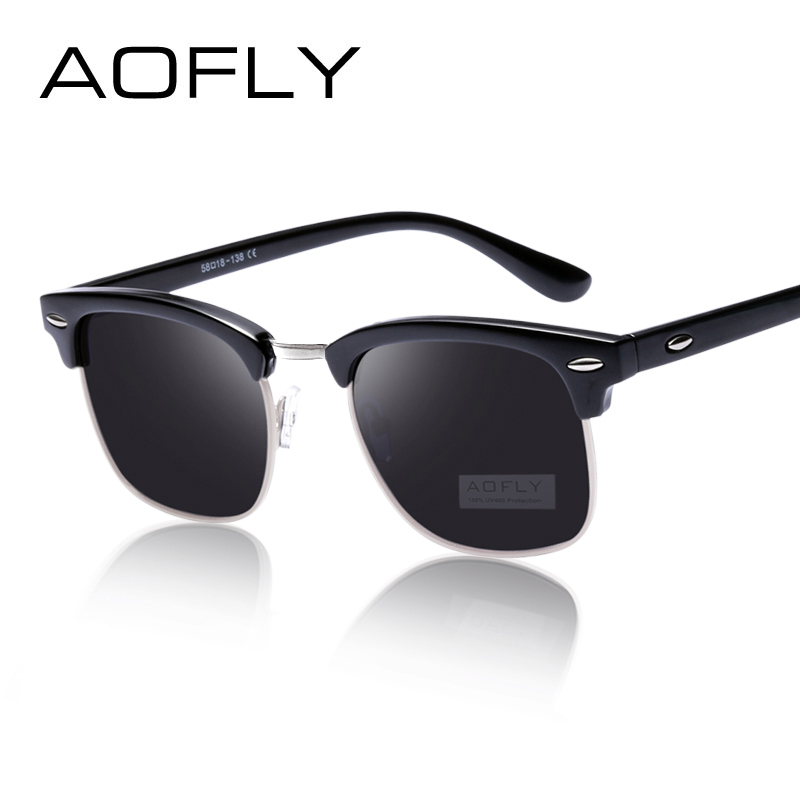 AOFLY Стильные мужские и женские солнцезащитные очки унисекс, в новом квадратном дизайне, в пластиковой оправе с поляризованными линзами Polaroid...