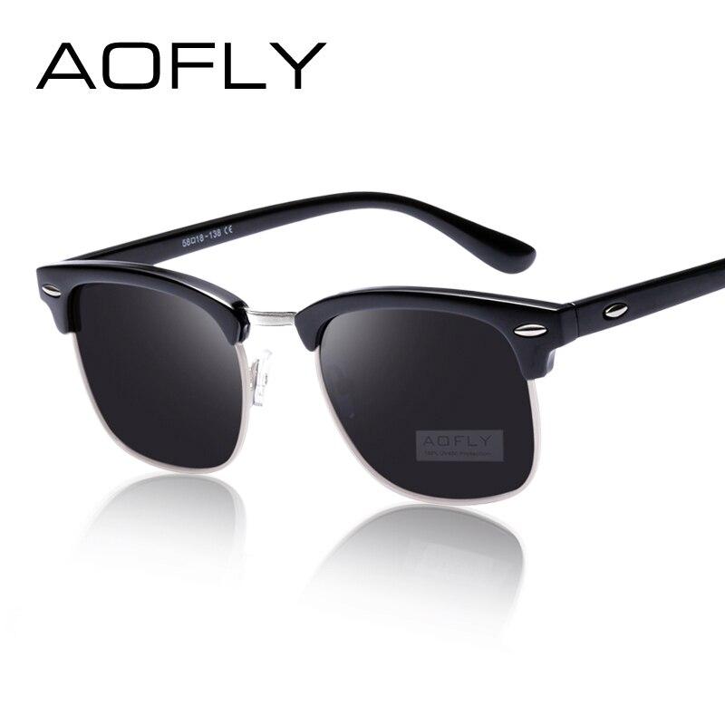 AOFLY CLASSICO Metà Metallo Occhiali Da Sole Donne Degli Uomini Del Progettista di Marca Occhiali G15 A Specchio Rivestimento Occhiali Da Sole Moda Occhiali Oculos De Sol PS1580