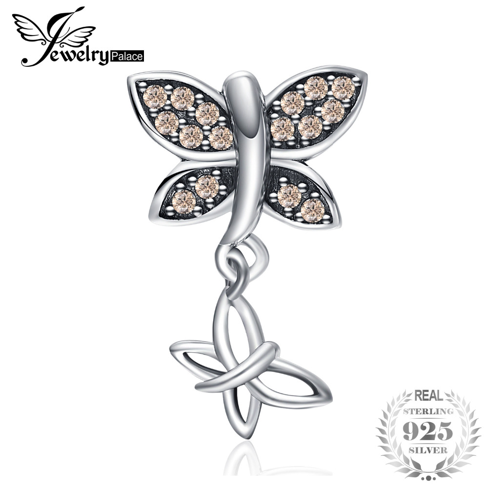JewelryPalace 925 Sterling Silver Champagne Cubic Zirconia Butterfly Charms Beads Fit Bracelets New Hot Sale For Your LoverJewelryPalace 925 Sterling Silver Champagne Cubic Zirconia Butterfly Charms Beads Fit Bracelets New Hot Sale For Your Lover