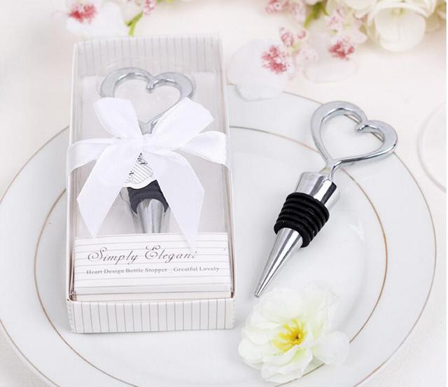 100pcslotfree shippingsimply elegant chrome heart bottle stopper weddingbridal shower