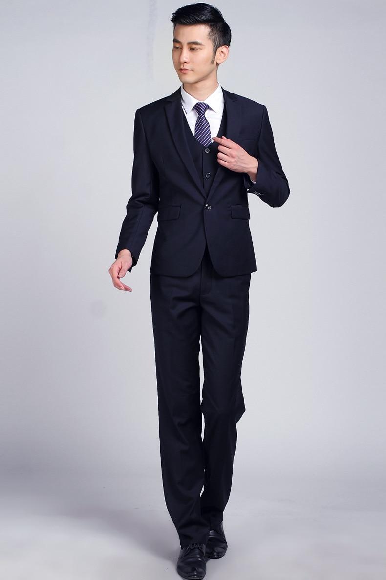 Azul oscuro hombres de la boda formal traje set moda casual marca terno  masculino chaqueta delgada Trajes para hombres traje de negocios y  pantalones en ... 125789fe805
