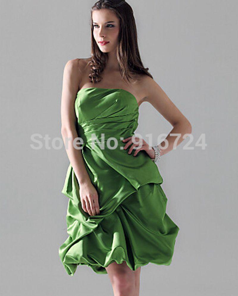 High Quality Green Satin Cocktail Dress-Buy Cheap Green Satin ...