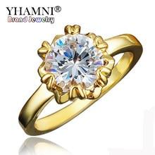 31a02498cc0d YHAMNI nueva lujo puro 24 K oro Color anillo solitario boda joyería Natural  Top AAAAA 8mm Diamant anillo de compromiso joyería R..