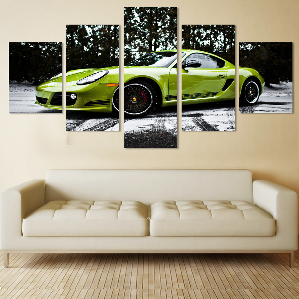 hot selling green car print on canvas wall pictures 5 pieces unframed home decor picture ...