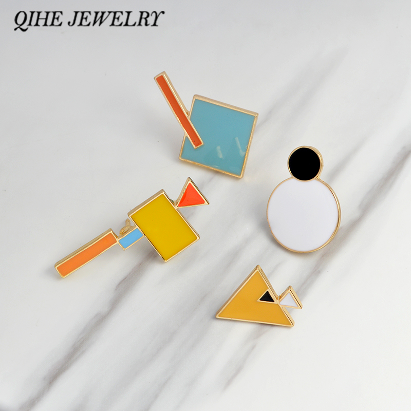 QIHE JEWELRY Pins and brooches Tangram jigsaw puzzle pins hard enamel lapel pin brooches badges Backpack bag hat jewelry