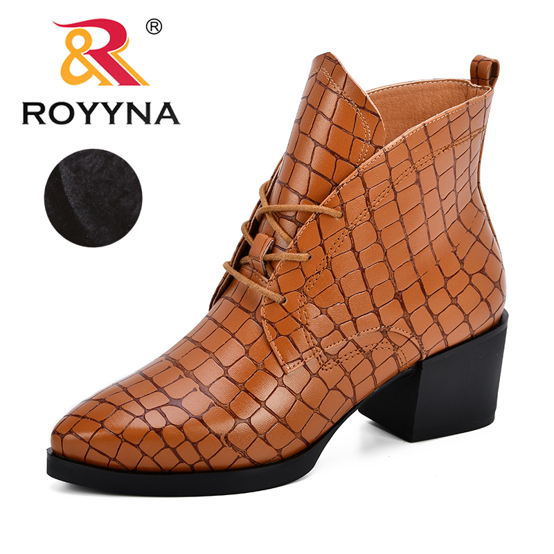 ROYYNA New Fashion European Style Ankle Boots Women Flats Round Toe Synthetic Lace Up High Heels Martin Boots Woman Shoes