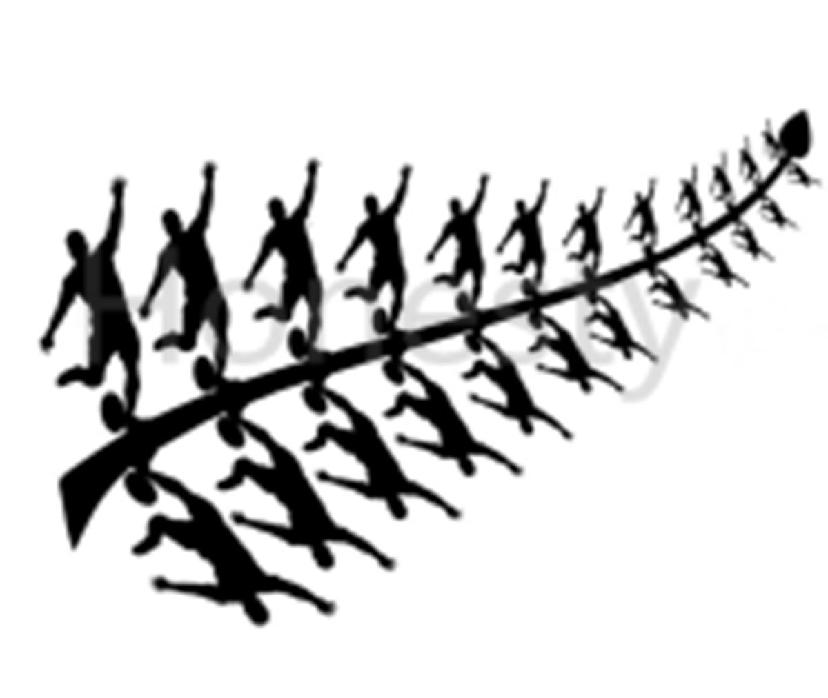 Aotharoa New Zealand Kiwi Fern Rugby All Black Fern Wall
