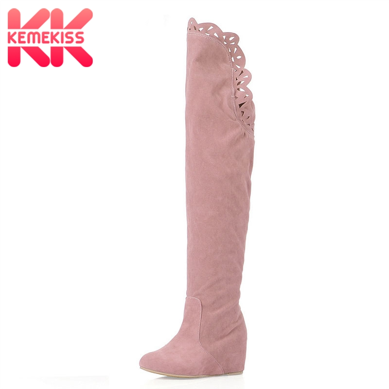 KemeKiss women weges over knee boots ladies riding long snow boot warm winter botas heels footwear shoes P6911 size 34-39