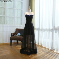 YIDINGZS Black Appliques Lace Long Evening Dresses 2017 Sweetheart Fashion Party Robe De Soiree