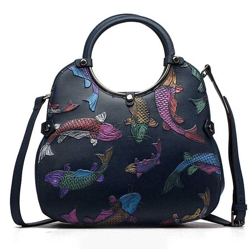 Women Embossed Top Handle Bag Tote Handbag Female Vintage Red Fire Fish Real Genuine Leather Cross