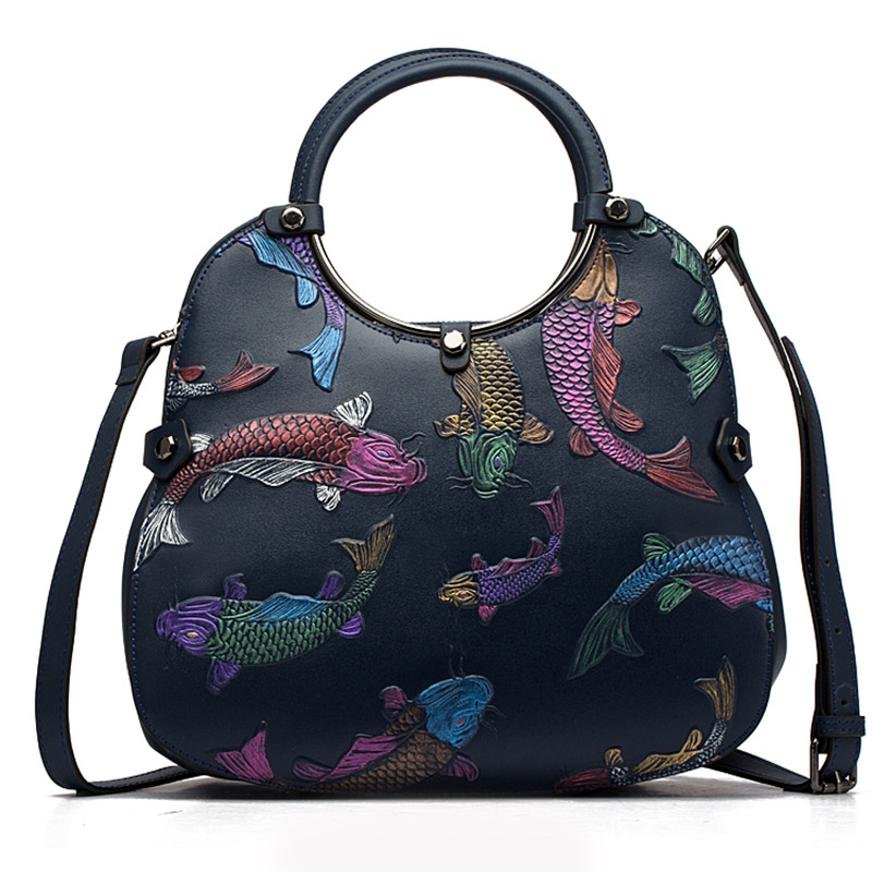 Women Embossed Top Handle Bag Tote Handbag Female Vintage Red Fire Fish Real Genuine Leather Cross Body Messenger Shoulder Bags