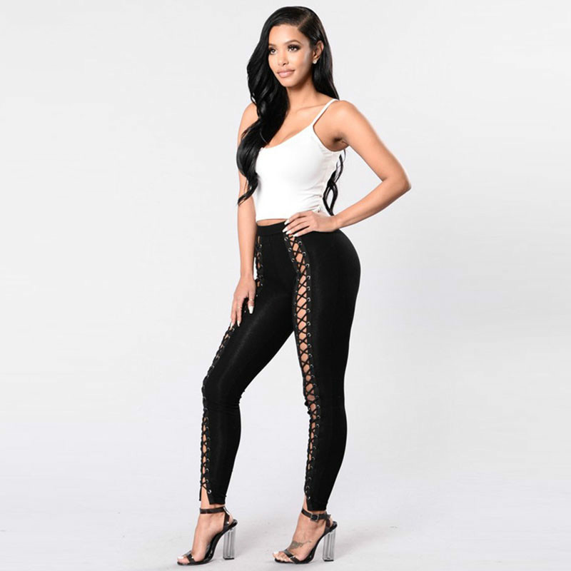 Black Hollow Out Leggings Women 2019 Autumn Winter Full Length Pencil Pants Sexy Fitness Lace Up Bodycon Legging 3