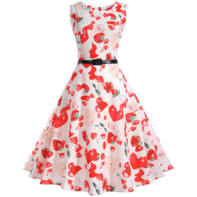 2017 Women 50s 60s Retro Vintage Dress Sweet Heart And Strawberry Print  Sleeveless Summer Dress Rockabilly Swing Party Dress 9d3eccf63fed