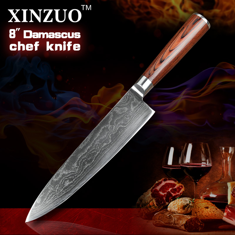 HOT 8 inches 73 layers Japan VG 10 Damascus steel kitchen font b knife b font