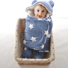 TOMEHOME Double Layers Fleece Baby Cartoon Baby Winter Strollers Bed Swaddle Blanket Wrap Cute Bedding Baby Sleeping Bag Blanket