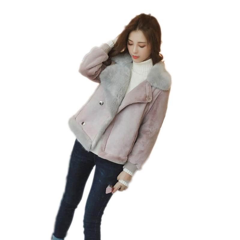 Winter Faux Lamb Leather Jacket Women Faux Leather Lambs Wool Fur Collar  Jacket Coats Female Warm Thicken Outerwear LU643