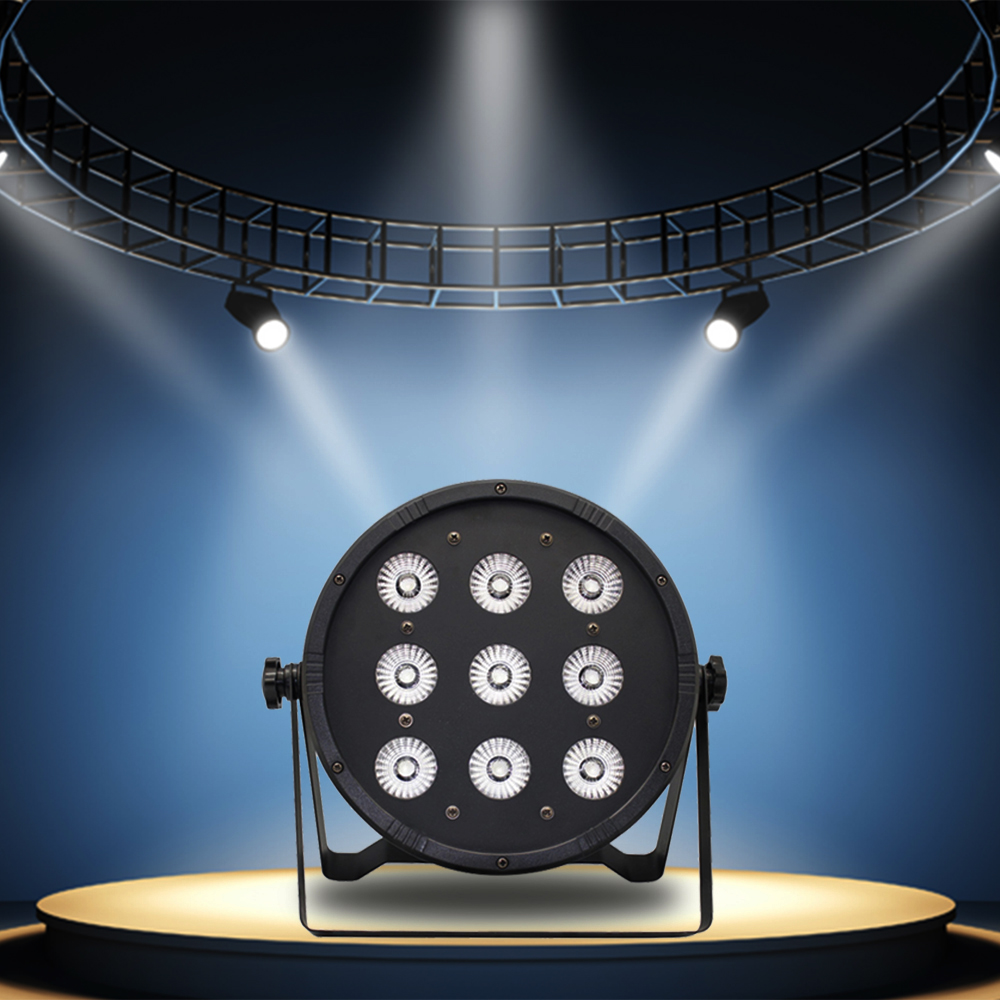 120W 9LED 8Channel RGBW 4 Colors in 1 Flat Slim Wash PAR Light Stage Effect Lamp Support DMX-512 Sound Activated Strobe Dimmable