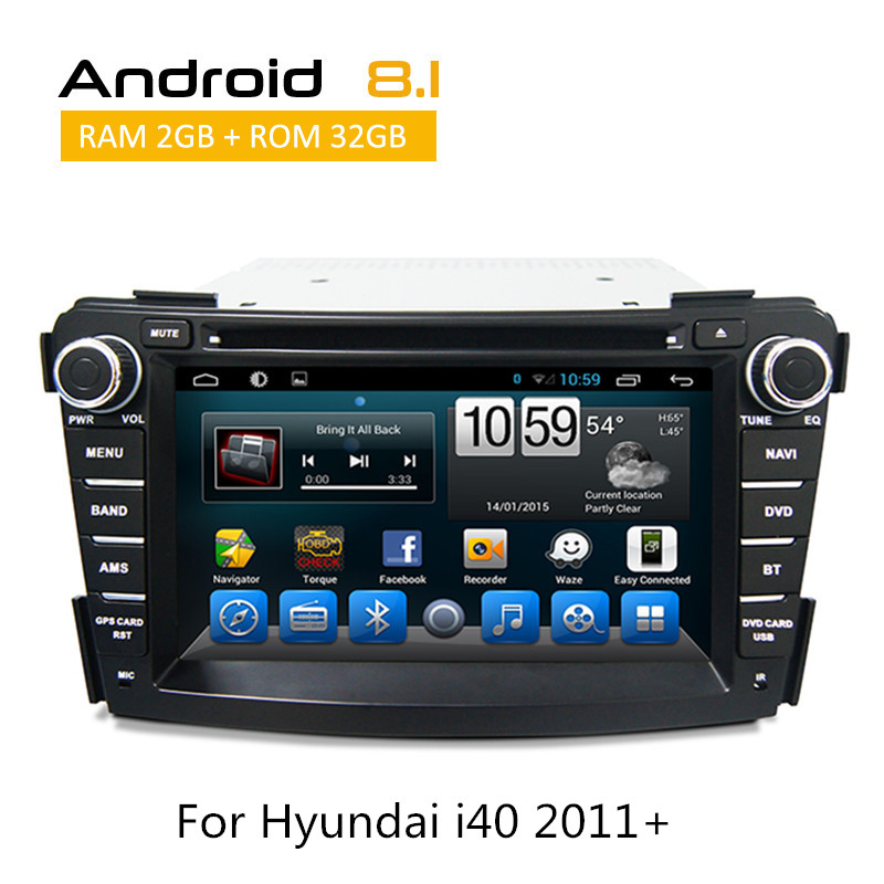 2 Din For Hyundai I40 2011 2012 2013 Car audio rear camera dvd cd player touch screen navigation Android 8.1 system Octa core