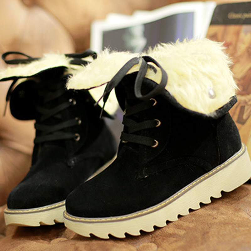 ФОТО British style lace up women boots autumn and winter snow boots with solid color sweet warm fur boots botas mujer  DT523