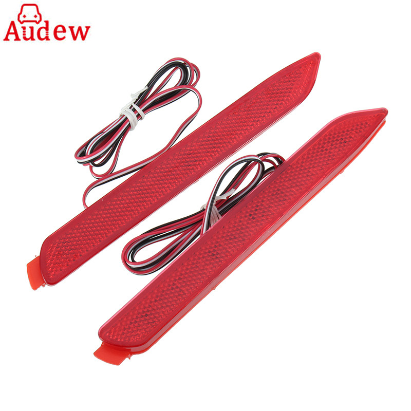 2 Pcs LED 12V Car Rear Bumper Reflector Light Red Tail Brake Light Parking Warning Lamp For Toyota/Reiz  6000K fanyuan women square heel ankle boots woman pointed toe buckle strap shoes mixed color zipper heels shoes woman size 32 42