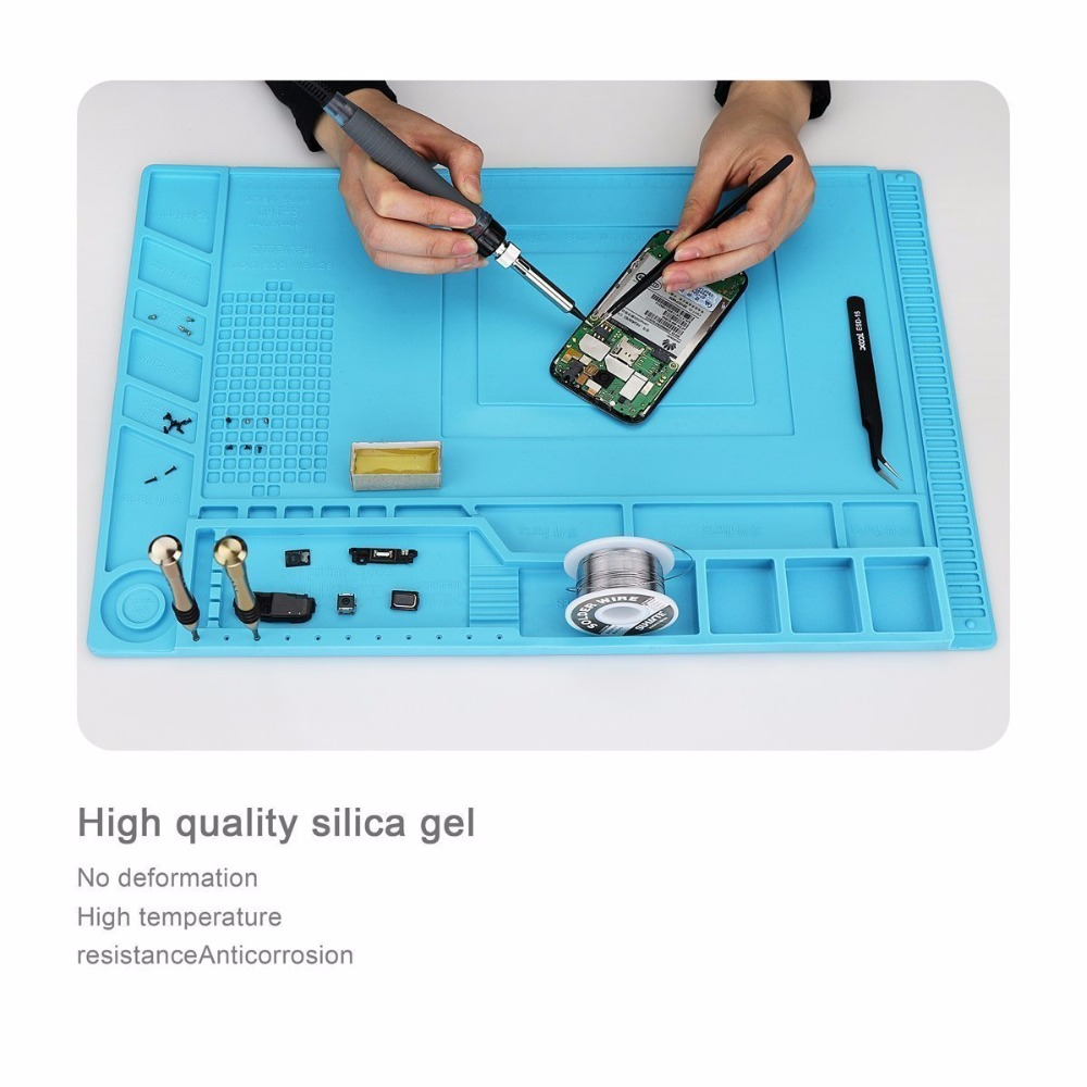 45x30cm Heat Insulation Silicone Pad Desk Mat Maintenance Platform for phone BGA Soldering Repair Station with Magnetic Section
