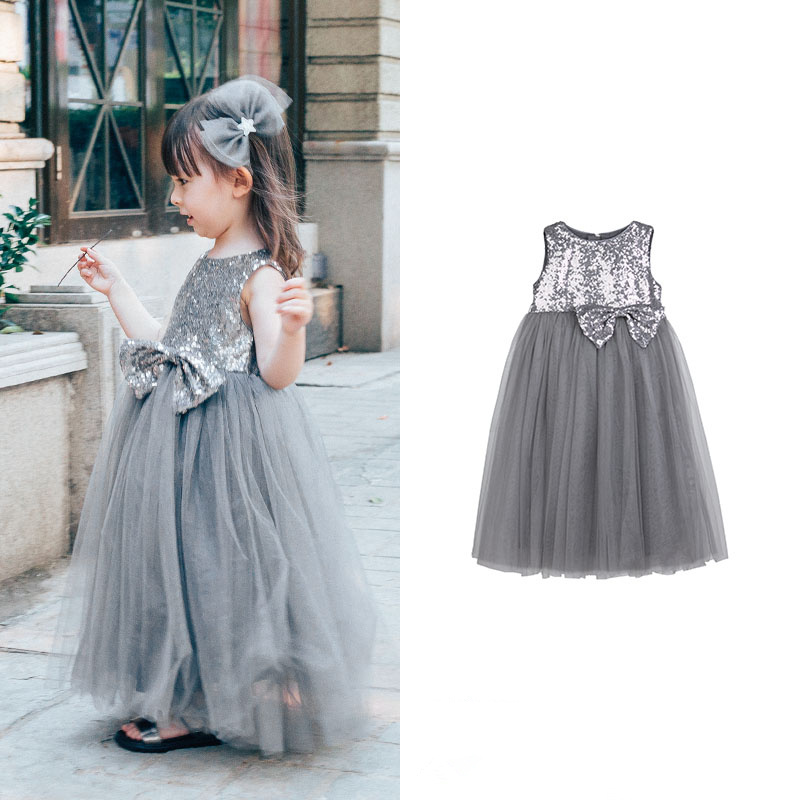 Girls Sequin Embroidery Dream Mesh big Bow Princess girls beauty glamorous bow sequin embroidery bubble long sleeve full clip dress
