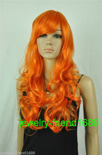 Wholesale heat resistant LY free shipping New wig long orange Cosplay curly Heat Resistant wig