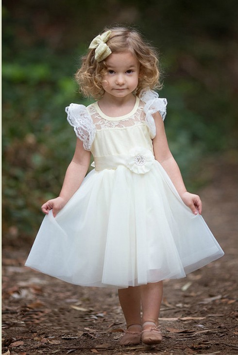 A-Line Flower Girls Dresses For Wedding Gowns Tulle Girl Birthday Party Dress Lace Kids Prom Dresses Mother Daughter Dresses new white ivory nice spaghetti straps sequined knee length a line flower girl dress beautiful square collar birthday party gowns
