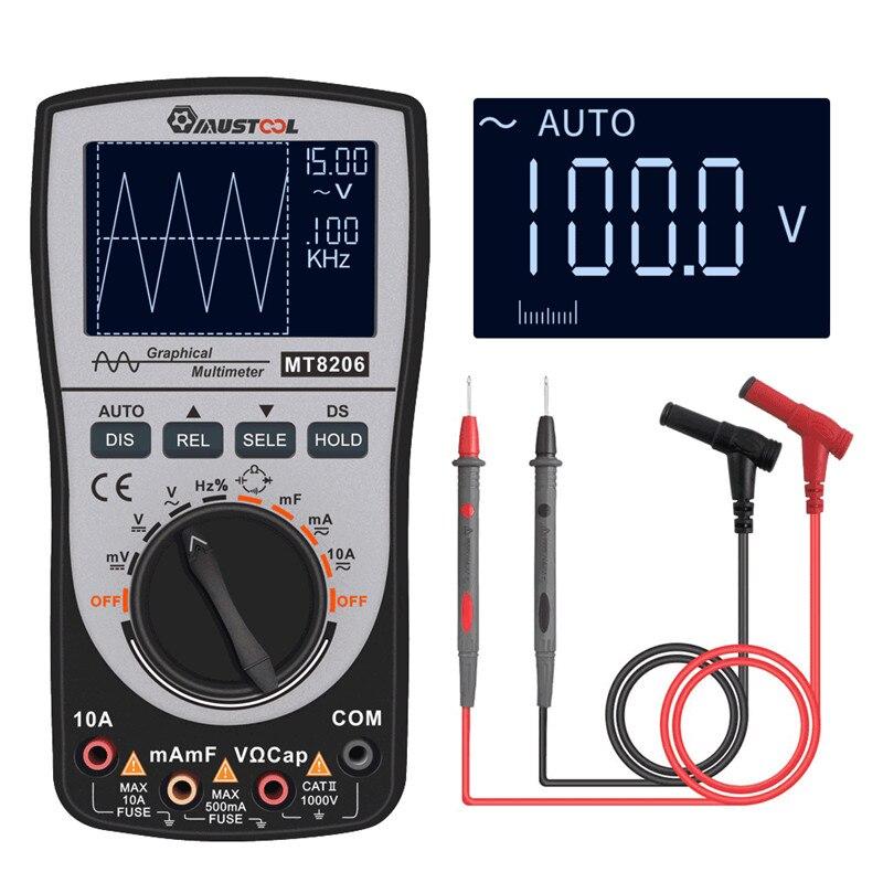 2 em 1 atualizado mustool mt8206 multímetro osciloscópio digital inteligente com gráfico de barras analógico 200k de alta velocidade a/d amostragem