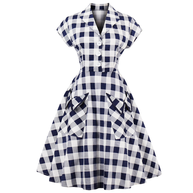 2a98e607232ea Kenancy 60s Audrey Hepburn Vintage Dress Plus Size 4XL Plaid Print Women  Party Dress Elegant Swing Rockabilly Feminino Vestidos