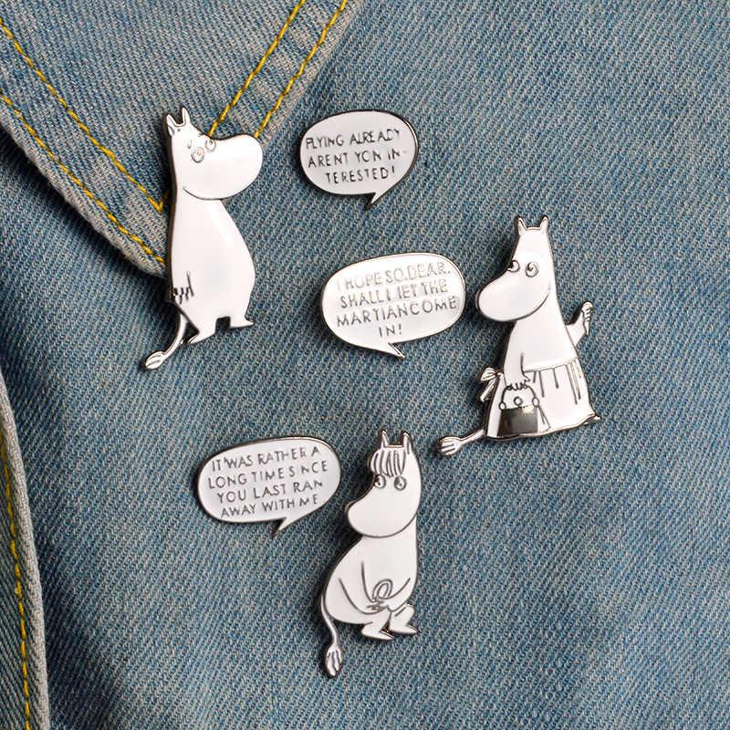 Güzel hayvan seti pimleri renkli dinozor tembel kedi sevimli köpek Totoro yaka emaye Pin broş çift tilki tavşan rozetleri takı hediye