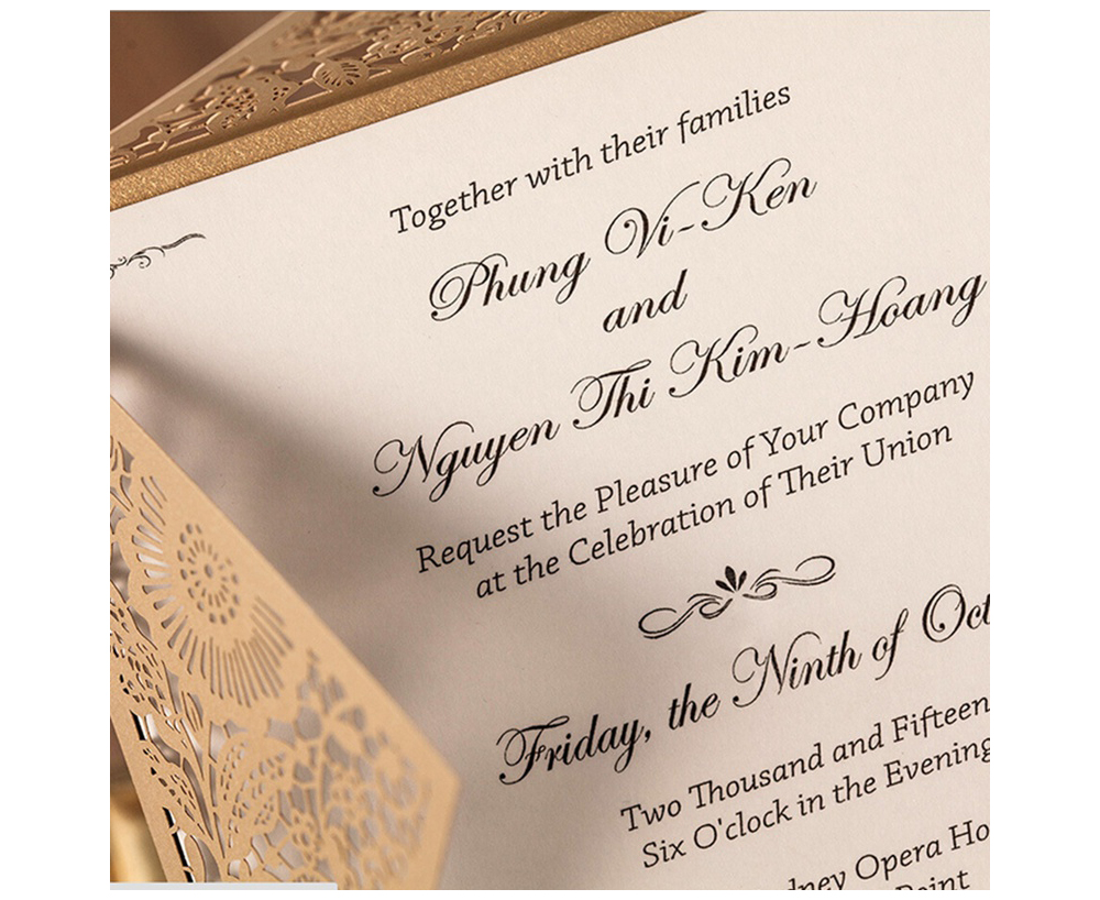 Laser Cutting Lace Elegant Wedding Invitation Engagement Invitation