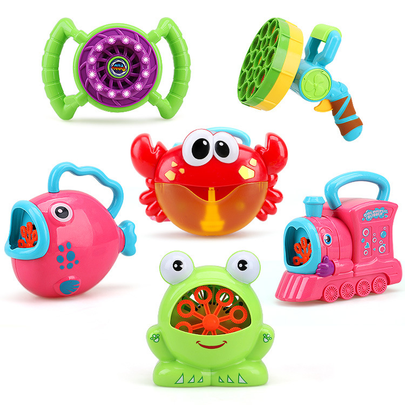 Electric Bubble Blower Machine Outdoor Toys For Children Baby Bath Soap Toy Frog Fish Crab Models