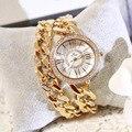 Chegada nova Marca BS Francês Dupla Cadeia Roma Relógio Bracelete de Diamantes Mulheres Relógio de Luxo Cristais Austríacos Charme Pulseira