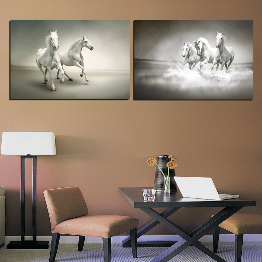 Large Galloping White Horse Wall Pictures For Living Room Office 2 Piece Gray Art Prints Paintings